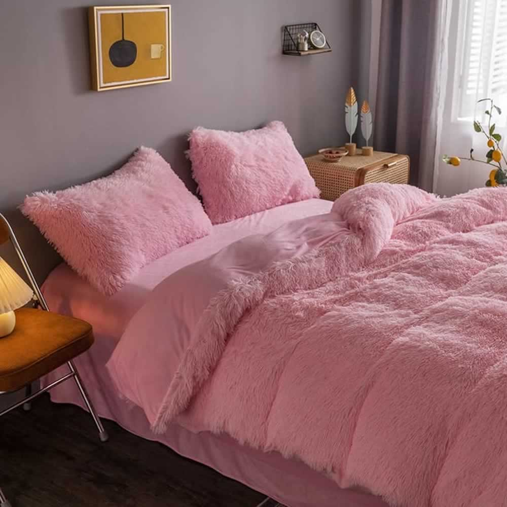 pink fluffy bedspread